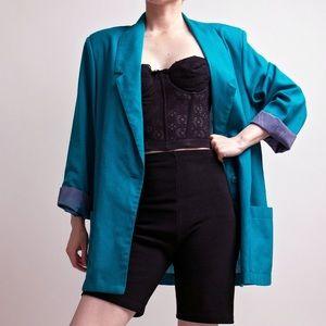Vintage 80s teal blue minimal boxy blazer jacket